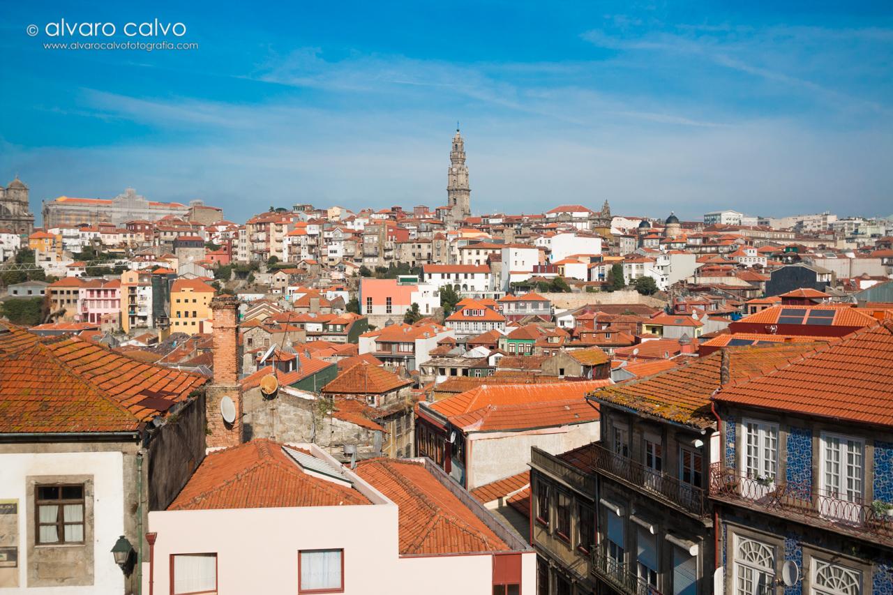 Vista de Oporto por encima de los tejados, al fondo Torre de los Clérigos